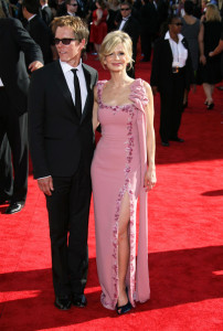 Kyra Sedgwick and Kevin Bacon arrive at the 61st Primetime Emmy Awards held at the Nokia Theatre on September 20th 2009 in Los Angeles