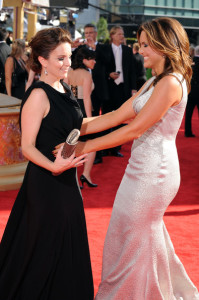 Mariska Hargitay and Tina Fey arrive at the 61st Primetime Emmy Awards held at the Nokia Theatre on September 20th 2009 in Los Angeles