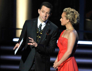 Jon Cryer and Hayden Panettiere present the Outstanding Host For A Reality Or Reality Competition Program award onstage during the 61st Primetime Emmy Awards
