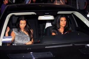 Kim Kardashian and Kourtney Kardashian arrive at the Viceroy Hotel in Santa Monica on September 27th 2009