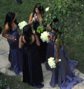 Kim and Kourtney Kardashian as the bridesmaids at the wedding ceremony of their sister Khloe