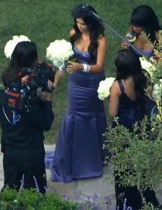 Kim Kardashian as the bridesmaid at the wedding ceremony of their sister Khloe