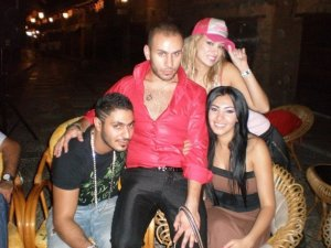 Mirhan Hussein enjoying a dinner out in Lebanon beirut during her stay at a hotel there in September 2009 with Nasser Abo Lafi the Jordanian Rapper and Reem Ghazali