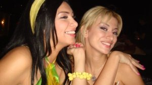 Mirhan Hussein enjoying a dinner out in Lebanon beirut during her stay at a hotel there in September 2009 with Reem Ghazali 2