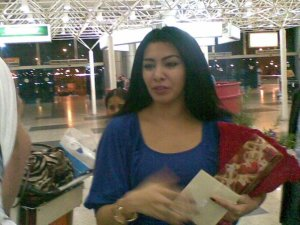 Mirhan Hussein photo as she arrives at the Cairo airport from Lebanon after Ramadan in September 2009