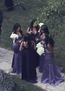Kim Kardashian spotted at the wedding receptiopn of her sister Khloe wearing a backless purple dress as the bridesmaid at the brides residence in Beverly Hills on September 27th 2009 5