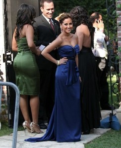 Adrienne Bailon arrived wearing a blue silk dress at Khloe Kardashian and Lamar Odom wedding reception held at the couples residence in Beverly Hills on September 27th 2009 2