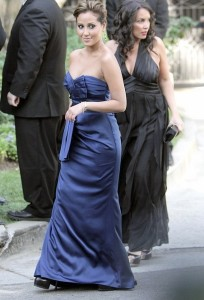 Adrienne Bailon arrived wearing a blue silk dress at Khloe Kardashian and Lamar Odom wedding reception held at the couples residence in Beverly Hills on September 27th 2009 3