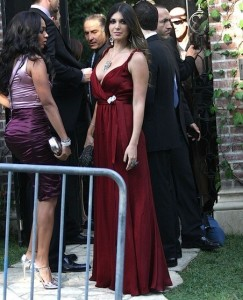 Brittny Gastineau arrives in a dark maroon gown to Khloe Kardashian and Lamar Odom wedding reception held at the couples residence in Beverly Hills on September 27th 2009 2