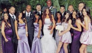 Khloe Kardashian and Lamar Odom photo during their wedding with Rob Kardashian and the bridemaids Kim and Kourtney Kardashian.