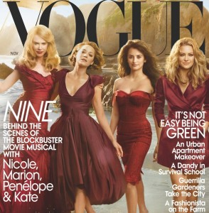 Nicole Kidman with Marion Cotillard, Penelope Cruz, and Kate Hudson on the cover of the November 2009 cover of Vogue magazine