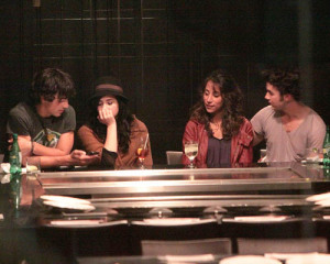 Joe and Kevin Jonas were spotted out on a double date with Demi Lovato and Danielle Deleasa at Yamato Steakhouse in Yorkville Toronto Canada on October 5th 2009 2