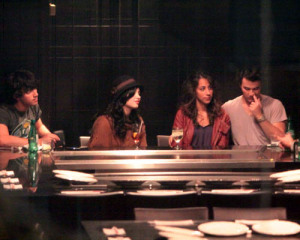 Joe and Kevin Jonas were spotted out on a double date with Demi Lovato and Danielle Deleasa at Yamato Steakhouse in Yorkville Toronto Canada on October 5th 2009 1