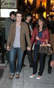 Kevin Jonas and his fiance Danielle Deleasa spotted arriving for dinner at Yamato Steakhouse in Yorkville Toronto Canada on October 5th 2009 2