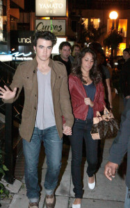 Kevin Jonas and his fiance Danielle Deleasa spotted arriving for dinner at Yamato Steakhouse in Yorkville Toronto Canada on October 5th 2009 1