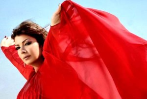 Asala Nasri new photo shoots for her campaign in a red elegant dress 2