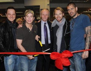Stephen Gately with Mikey Graham Ronan Keating and Shane Lynch of Boyzone for the launch of new store Plus and Minors on Thomas Street on May 1st 2008 in Dublin Ireland 1