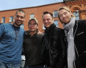 Stephen Gately with Mikey Graham Ronan Keating and Shane Lynch of Boyzone for the launch of new store Plus and Minors on Thomas Street on May 1st 2008 in Dublin Ireland 2