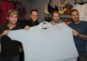 Stephen Gately with Mikey Graham Ronan Keating and Shane Lynch of Boyzone for the launch of new store Plus and Minors on Thomas Street on May 1st 2008 in Dublin Ireland 3