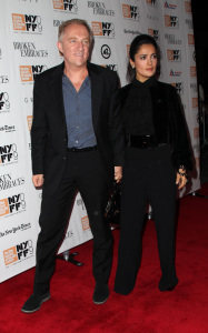 Francois Henri Pinault and Salma Hayek arrive at the special screening of the movie Broken Embraces in New York on october 11th 2009 2