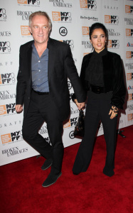 Francois Henri Pinault and Salma Hayek arrive at the special screening of the movie Broken Embraces in New York on october 11th 2009 1