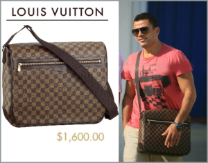 Amr Diab spotted wearing a louis vuitton purse in October 2009