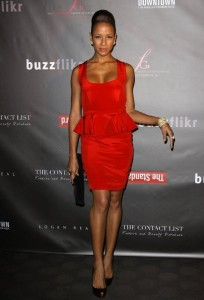 Dania Ramirez wearing a red dress as she attends the Fashion Group International of Los Angeles on October 12th 2009 3