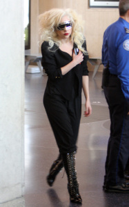 Lady GaGa was spotted arriving at Los Angeles International Airport on October 14th 2009 2