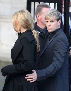 Kieran Egan of Westlife and his girlfriend Jodi Albert attend the funeral of Boyzone singer Stephen Gately at St Laurence O'Toole Church on October 17th 2009 in Dublin Ireland