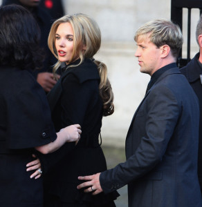Kieran Egan of Westlife and his girlfriend Jodi Albert at the funeral of Boyzone singer Stephen Gately at St Laurence O'Toole Church on October 17th 2009 in Dublin Ireland