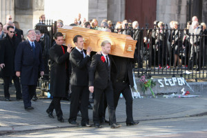 Mikey Graham and Ronan Keating carry out the coffin after the funeral of Boyzone singer Stephen Gately at St Laurence O'Toole Church on October 17th 2009 in Dublin Ireland