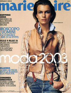 Filippa Hamilton photo On the cover of Italian Marie Claire magazine in January 2003