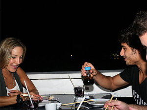 Jesus Luz picture while out for dinner with singer Claudia Leitte and her husband Marcio Pedreira on October 17th 2009