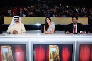 picture of Fayez alsaeed, Diana Hadad, and Abdula Rweished during the second episode of Najm Al Kaheej TV show on Dubai channel on October 18th 2009