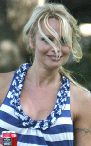 Pamela Anderson seen snowboarding on a makeshift mountain at a private home in Malibu California on October 25th 2009 1