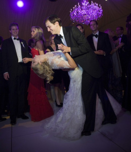 Ivanka Trump and Jared Kushner wedding photo from their private Jewish ceremony at the Trump National Golf Club in Bedminster New Jersey on October 25th 2009 2