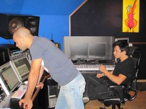 Winner of Star Academy season 5 Nader Quirat picture during the recording of his first single LAnge Perdu at a studio in Lebanon Beirut 1