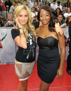 Ashley Tisdale and Monique Coleman arrive at the premiere of This Is It movie on October 27th 2009
