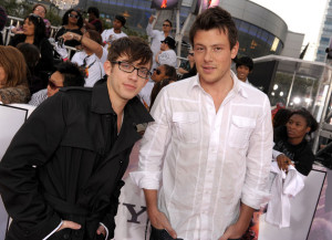 Kevin McHale and Cory Monteith arrive at the premiere of This Is It movie on October 27th 2009
