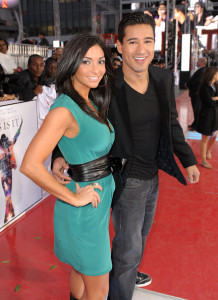 Courtney Mazza and Mario Lopez arrive at the premiere of This Is It movie on October 27th 2009