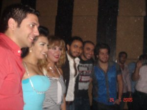 Picture of Mirhan Hussein with Tamer Hosni at her 27th birthday party in October 2009 3