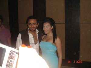 Picture of Mirhan Hussein with Tamer Hosni at her 27th birthday party in October 2009 1