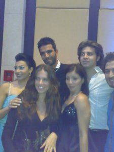 Picture of Mirhan Hussein with Lara Scandar at her 27th birthday party in October 2009 and Mohamad Serag and Sally Hussein