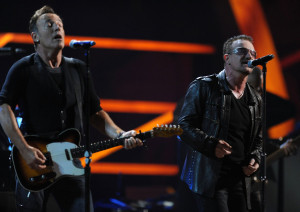 Bono of U2 with Bruce Springsteen at the 25th Anniversary Rock & Roll Hall of Fame Concert at Madison Square Garden on October 30th 2009