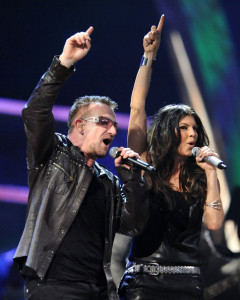 Bono of U2 and Fergie at the 25th Anniversary Rock & Roll Hall of Fame Concert at Madison Square Garden on October 30th 2009