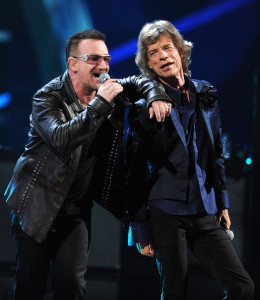 Bono of U2 and Mick Jagger at the 25th Anniversary Rock & Roll Hall of Fame Concert at Madison Square Garden on October 30th 2009