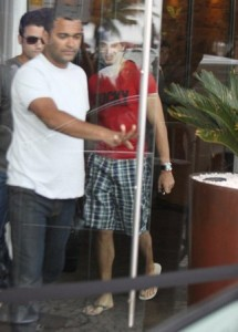 Jesus Luz spotted leaving the hotel where he is staying on november 11th 2009 to head to the recording studio in Barra da Tijuca to work on his new music 3