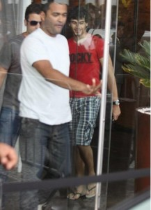 Jesus Luz spotted leaving the hotel where he is staying on november 11th 2009 to head to the recording studio in Barra da Tijuca to work on his new music 4