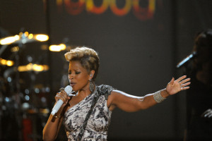 Mary J Blige performs onstage at the 2009 American Music Awards at the Nokia Theatre LA Live in Los Angeles California on November 22nd 2009 2