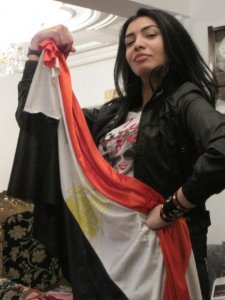 Mirhan Hussein photo with the egyptian flag to support football team of egypt during their match 3